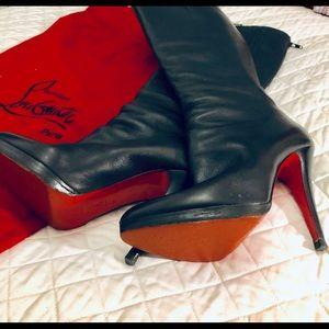 Christian Loubiton Black Leather Boots Euro 39
